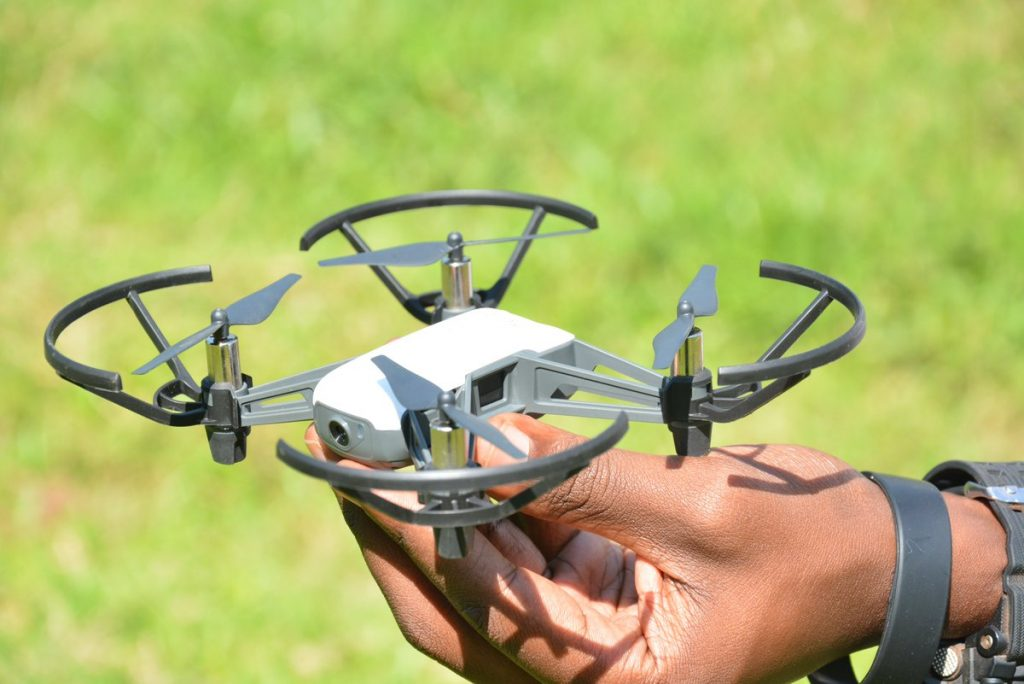 Our reporter holding what appears to be one of the Jaguza drones. They are equipped with thermal cameras. File Photo/Jaguza