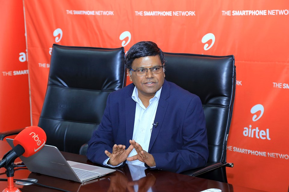 Airtel Uganda Managing Director Mr. VG Somasekhar briefing the press about its 4G network. Courtesy Photo/Airtel Uganda
