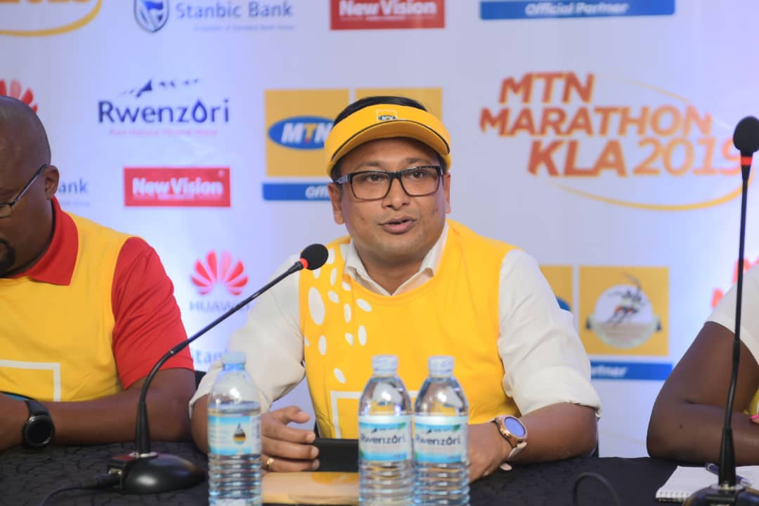 MTN Uganda Ag. CMO Sen Somdev speaking to reporters at the launch of the 2019 MTN Marathon at the MTN Uganda offices in Nyonyi Gardens in Kampala on Tuesday 15th, October 2019.