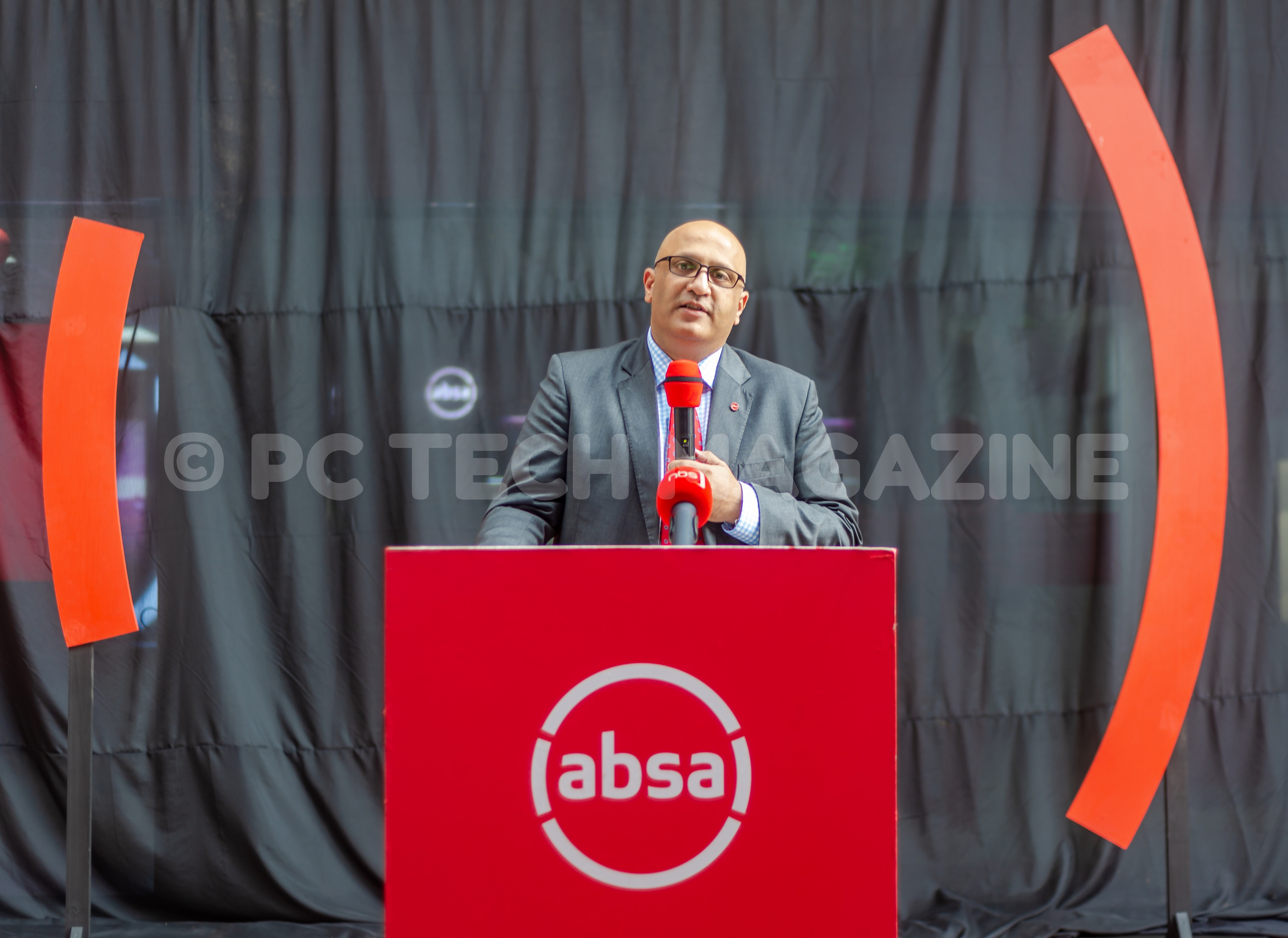 Absa Bank Uganda's MD; Nazim Mahmood speaking at the launch of the bank's digital branch on Thursday, November 14th, 2019. Photo by/ OLUPOT NATHAN ERNEST