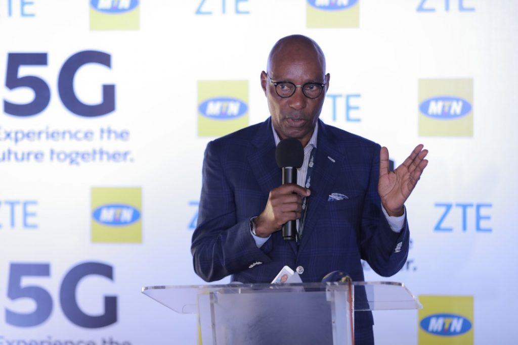 UCC Executive Director; Eng. Godfrey Mutabazi, speaking at the launch of 5G pilot demo in Uganda at the MTN Uganda Head Offices in Nyonyi Gardens.