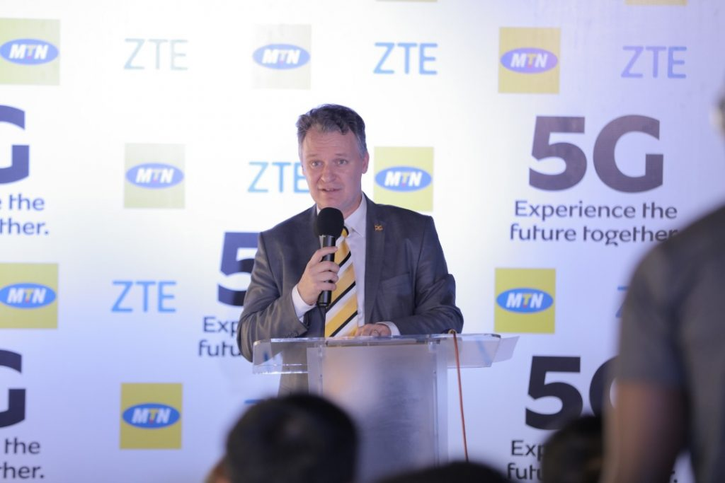 MTN Uganda CEO; Mr. Wim Vanhelleputte, speaking at the launch of 5G pilot demo in Uganda at the MTN Uganda Head Offices in Nyonyi Gardens.
