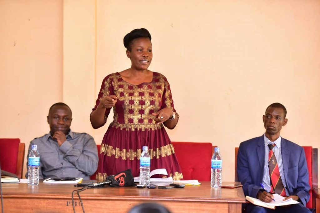 Minister of ICT and National Guidance; Hon. Judith Nabakooba addressing reporters during her visit to Jinja local government officials at their head offices. Photo by | Erick Kulu