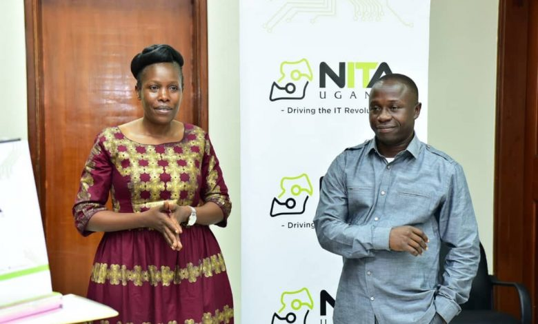 Minister and State Minister of ICT and National Guidance; Hon. Judith Nabakooba (L) and Hon. Peter Ogwang (R) visit to the National Data Center in Jinja, on Tuesday 4th, February 2020.