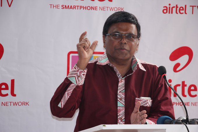 V.G Somasekhar; Airtel Uganda Managing Director speaking during the launch of the Airtel TV App on Thursday 13th, February 2020. Courtesy Photo | Airtel Uganda