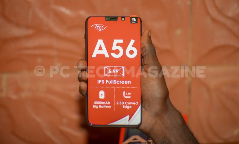 The itel A56 succeeds the A55 that was released last year, and is priced at UGX239,000 in all itel stores. Photo by: OLUPOT NATHAN ERNEST | PC Tech Magazine
