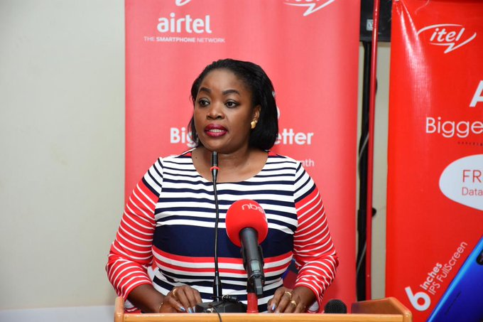Ms. Remmie Kisakye; Airtel Uganda Head Brand and Communications speaking at the launch of the Itel A56 at the Sheraton Hotel in Kampala. Courtesy Photo | Airtel Uganda