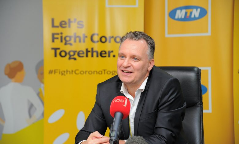 MTN Uganda CEO; Mr. Wim Vanhelleputte, addressing reporters on the company's plan to fight against coronavirus on Thursday 19th, March 2020.