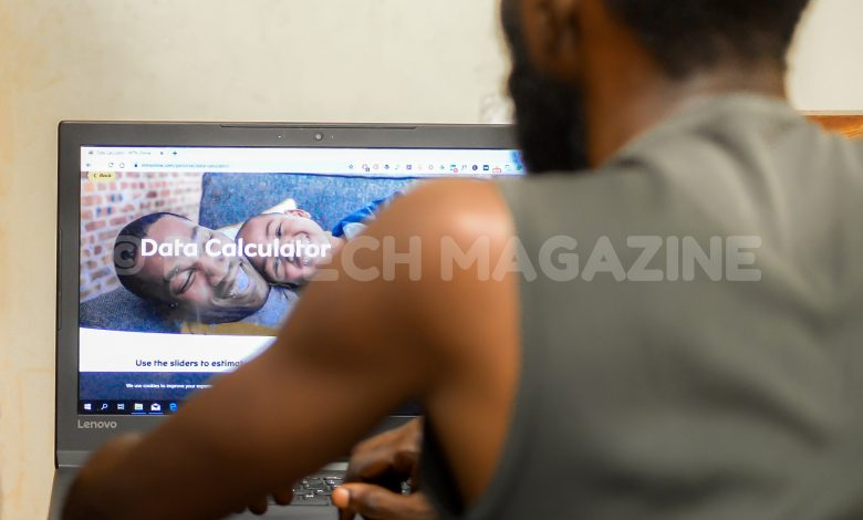 Pictured, a user loading the MTN Data Calculator web portal that will gives him an approximate figure of how much data he needs to use. Photo by: OLUPOT NATHAN ERNEST/PC Tech Magazine