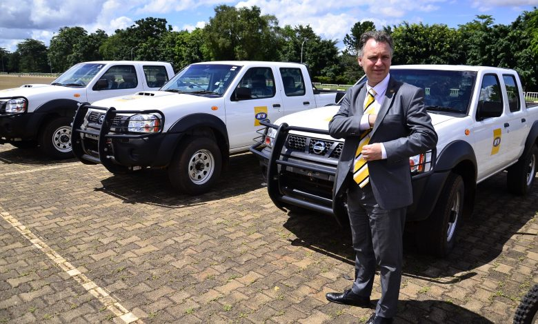 MTN Uganda CEO, Mr. Wim Vanhelleputte pictured before handing over three brand new Nissan pickups to the president, PM, and Covid Task force.
