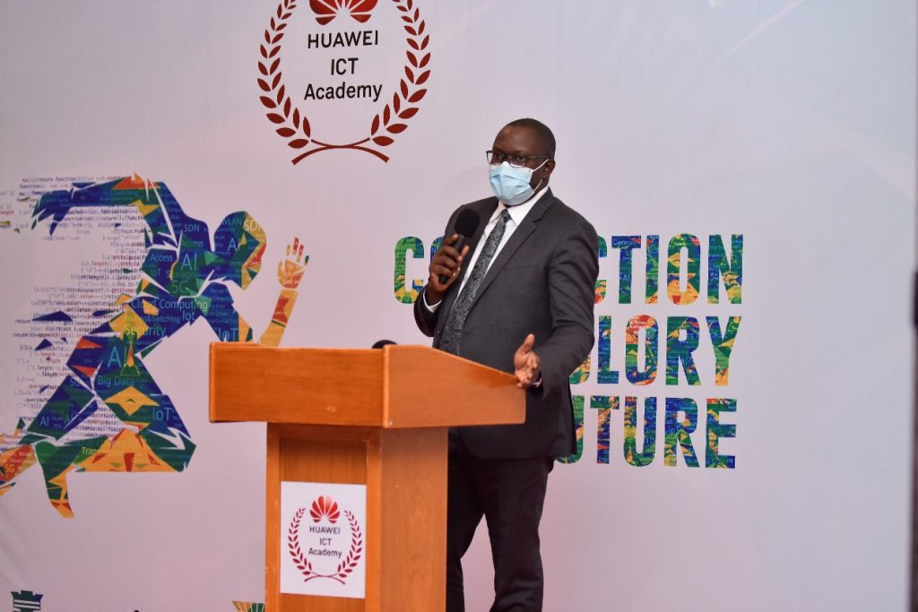 Permanent Secretary of the Ministry of ICT and National Guidance and Chief guest Hon. Bagiire Vicent Waiswa addressing journalists at a Huawei award ceremony press conference at Serena Hotel on Monday 12th, October 2020. Courtesy Photo