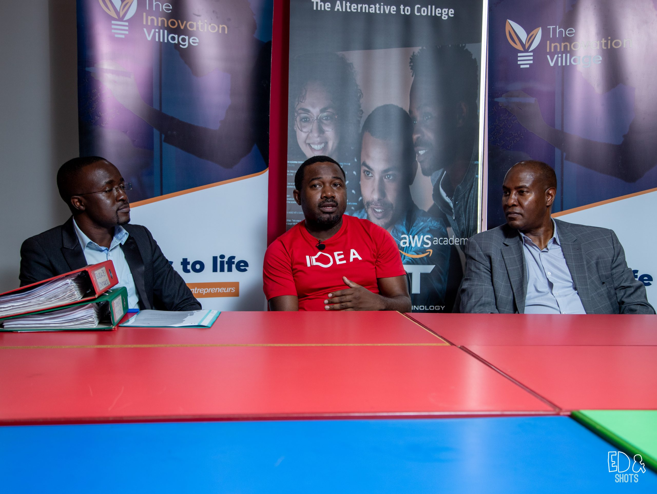 In Pictorial from left to right: Solomon Opio; the Technology Community Manager at The Innovation Village, CK Japheth; the Team Lead at The Innovation Village and CEO CIT Institute of Technology; Da'shone Hughey. (Courtesy Photo)