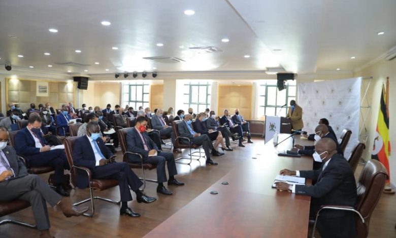 Honorable Minister of Foreign Affairs Sam Kutesa briefing Heads of Diplomatic Missions and International organisations on the recently concluded general elections at the Ministry HQ on Tuesday 20th, January 2021. (Courtesy Photo)