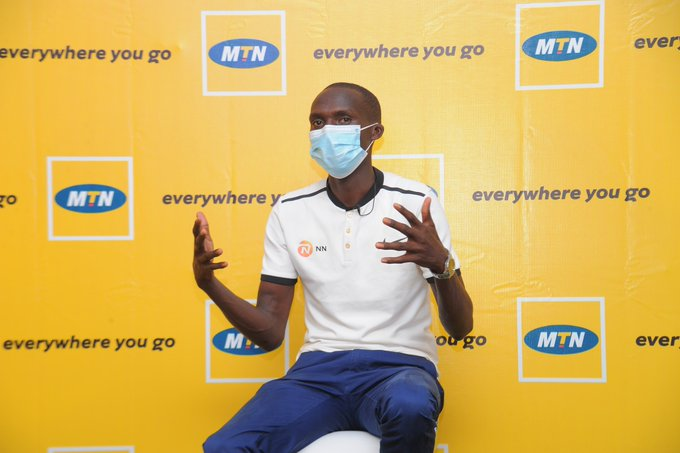 World record breaking athlete, Joshua Cheptegei speaking to journalist at the Mbale Resort Hotel about his new sponsorship deal from MTN Uganda. (COURTESY PHOTO/ MTN Uganda)