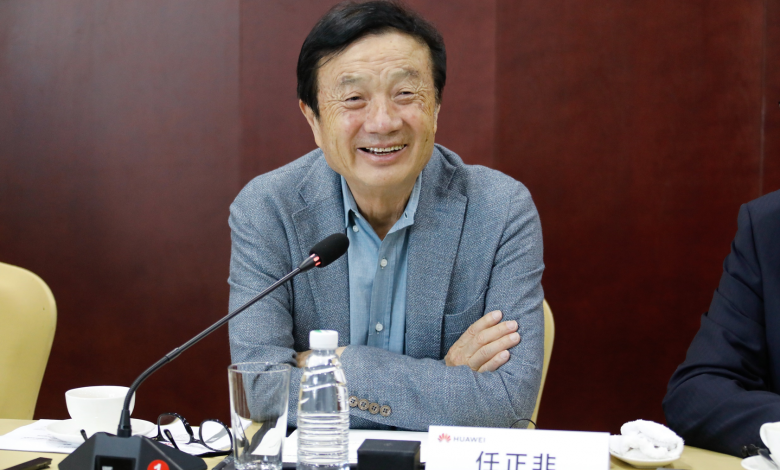 Huawei's CEO Ren Zhengfei speaking during a press briefing in Taiyuan, the capital city of China's northern Shanxi province, after launching the Intelligent Mining Innovation Lab.