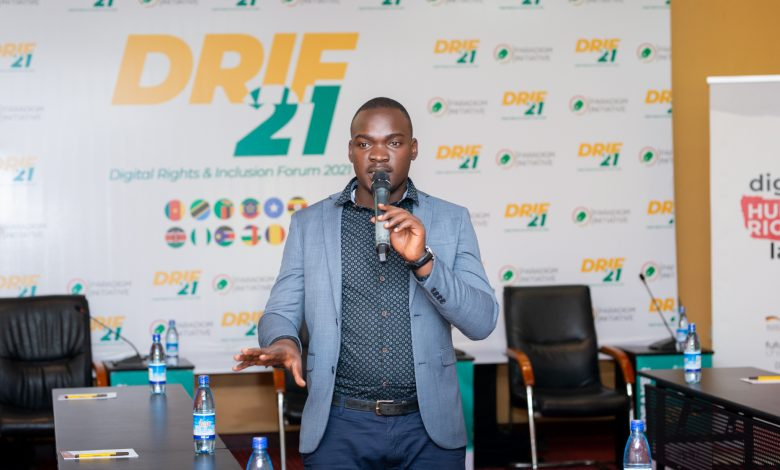 Speaking at the 2021 Digital Human Rights and Inclusion Forum held at the Royal Suites Hotel in Bugolobi. (COURTESY PHOTO)